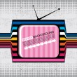 Stock Vector: Textured retro tv on grunge background