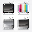 Set of four stylish retro TV icons — Stock Vector