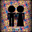 Black couple of men and women on colorful background- vector — Stock vektor