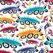 Stock vektor: Fantastic cars - seamless pattern