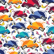 Fantastic cars - seamless pattern — ベクター素材ストック