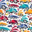Fantastic cars - seamless pattern — Stock Vector