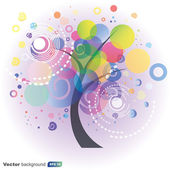 Colorful abstract tree on purple background - Vector — Stok Vektör