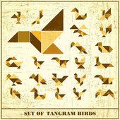 Set of grunge tangram birds - vector elements for design — Stock Vector