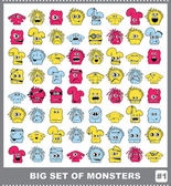 Big set of colorful monsters — Stock Vector