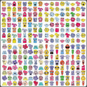 Conjunto grande de monstruos coloridos — Vector de stock