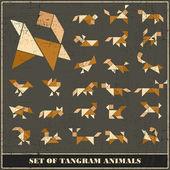 Conjunto de grunge tangram animales-vector elementos de diseño — Vector de stock