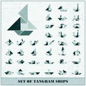 Zestaw elementów statków wektor grunge tangram dla projektu — Wektor stockowy