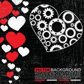 Fondo de corazones-vector creativo grunge retro — Vector de stock