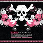 Abstract skull grunge background design — Vecteur