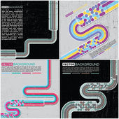 Dört renkli retro grunge kökenden set - vektör — Stok Vektör