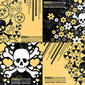 Set of four abstract skull grunge backgrounds design — Stock Vector