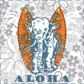 Vector Surfboards and elephant (Vector tiki aloha design) — Stockvector
