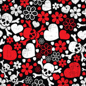 Red skulls in flowers and hearts on black background - seamless pattern — Stock Vector