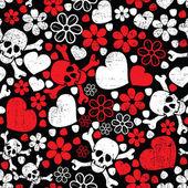 Rode schedels in bloemen en harten op zwarte achtergrond - naadloos patroon — Stockvector