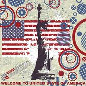 Estatua de fondo libertad sobre bandera americana grunge — Vector de stock