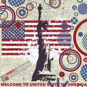 Statue of liberty background over grunge american flag — Stockvector
