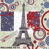 Vintage retro Eiffel card — Vecteur