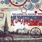 Fondo grunge con kremlin — Vector de stock