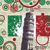 Pisa kulesi ile grunge arka plan — Stok Vektör