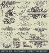 Conjunto de vectores: elementos de diseño caligráfico y página decoración - un montón de elementos útiles para embellecer su diseño — Vector de stock