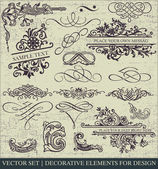 Vektör kümesi: sayfa süsleme - yararlı öğeleri düzeninizi süslemek için bir sürü ve kaligrafi tasarım öğeleri — Stok Vektör