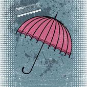 Rosa regenschirm auf blau grunge hintergrund - vector — Stockvektor