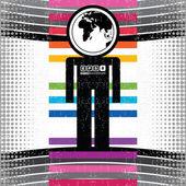 Hombre colorido sobre fondo grunge - vector — Vector de stock