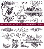 Vector set: calligraphic design elements and page decoration - lots of useful elements to embellish your layout — Stok Vektör