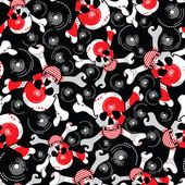 Skulls on black background - seamless pattern — Stock vektor