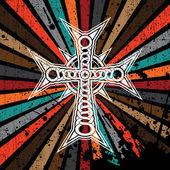 Grunge croce su sfondo colorato - vettoriale — Vettoriale Stock