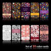 Conjunto de diez tarjetas otoñales coloridas — Vector de stock