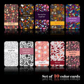Set of ten colorful autumn cards — Vettoriale Stock