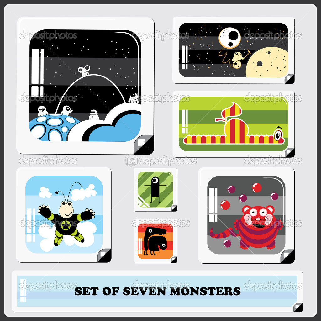Set of Seven colorful monsters — Stock Vector #10980473