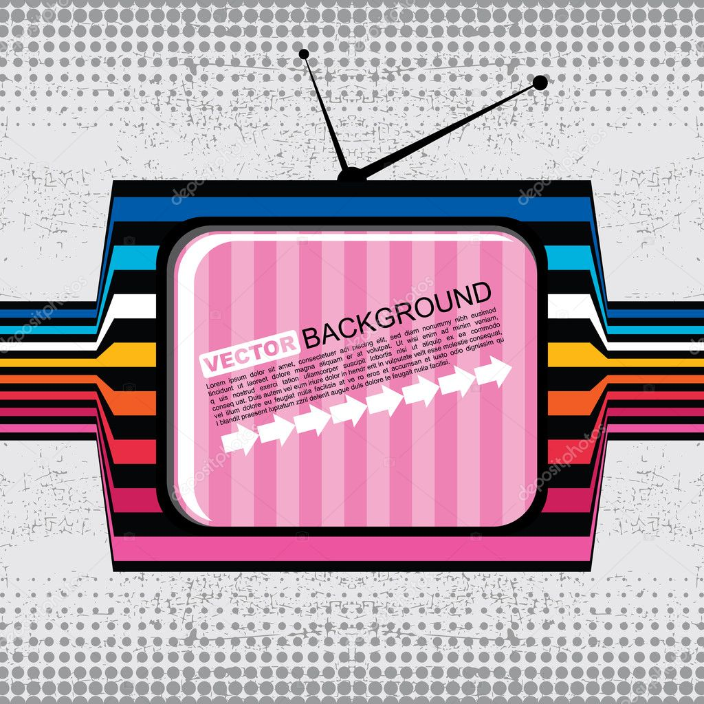 Textured retro tv on grunge background — Stock Vector #10982514
