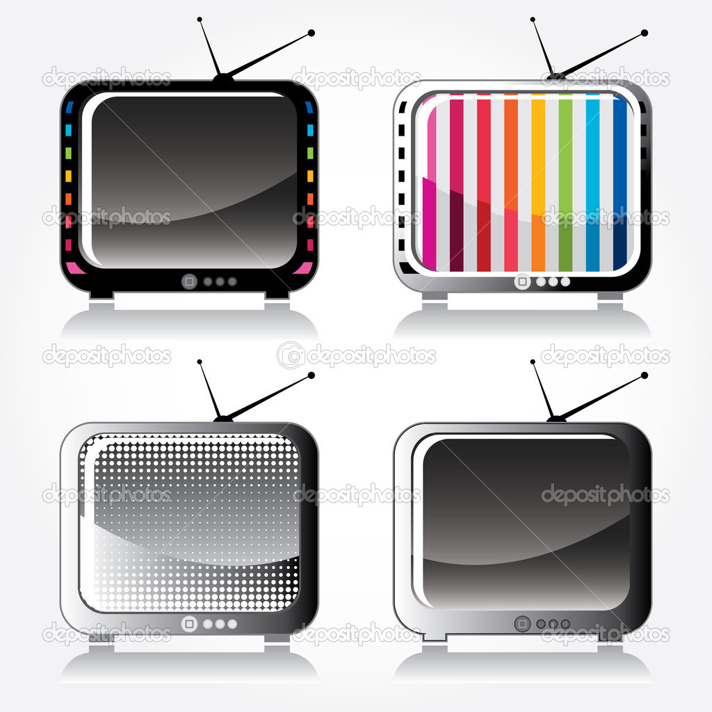 Set of four stylish retro TV icons  Stock Vector #10982907