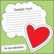 Card with heart and message cloud — Stock Vector