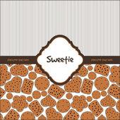 Karta z słodkie ciasteczka na brązowy — Wektor stockowy
