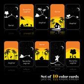 Set of ten cartoon cards — Stock Vector