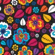 Colorful leafs and flowers - seamless pattern — Stockvektor