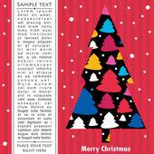 新的一年卡与树 — 图库矢量图片