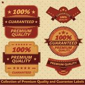 保费质量和保证标签集合 — 图库矢量图片