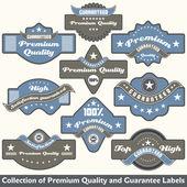 Premium kalite ve garanti etiketi koleksiyonu — Stok Vektör
