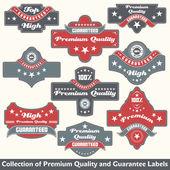 Colección de sello de calidad y garantía premium — Vector de stock