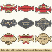 Premium quality and guarantee label collection — Stock Vector