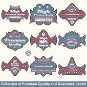коллекция премиум качество и гарантия этикетки — Cтоковый вектор