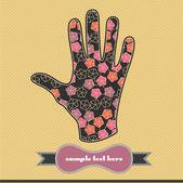 Bloemen en harten in de hand — Stockvector