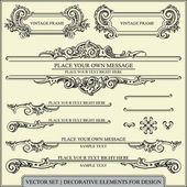 Vector ensemble : éléments de dessin calligraphique et page décoration - beaucoup d'éléments utiles pour embellir votre mise en page — Vecteur