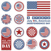 Independence Day- 4 of July - Retro grunge barcode background — Stock Vector