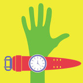Hand and watches — Stock Vector